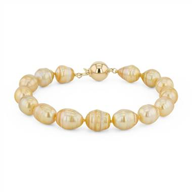 """Baroque Golden South Sea Cultured Pearl Bracelet in 18k Yellow Gold (8.9mm)"""