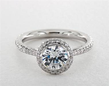 Beautiful Bezel Halo Tapered Pave Engagement Ring in 18K White Gold 4mm Width Band (Setting Price)