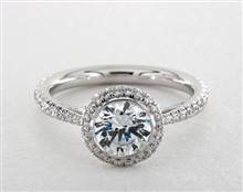 Beautiful Bezel Halo Tapered Pave Engagement Ring in 4mm 14K White Gold (Setting Price) | James Allen