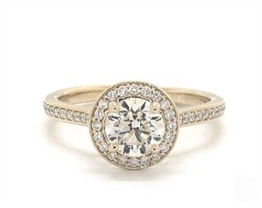 Beautiful Trellis Pave Halo Engagement Ring in 18K Yellow Gold 2.2mm Width Band (Setting Price)