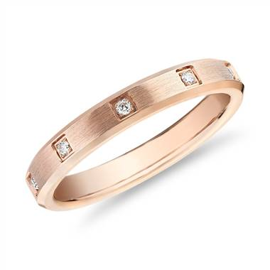 Beveled Edge Diamond Eternity Wedding Ring in 14k Rose Gold (3mm)