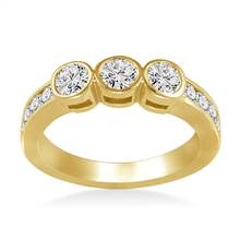 Bezel and Channel Set Round Diamond Band in 18K Yellow Gold (3/4 cttw.) | B2C Jewels