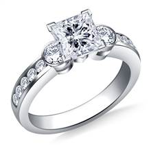 Bezel and Channel Set Round Diamond Engagement Ring in Platinum (5/8 cttw.) | B2C Jewels