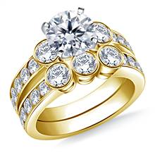 Bezel & Channel Set Round Diamond Ring with Matching Band in 18K Yellow Gold (1 1/2 cttw.) | B2C Jewels