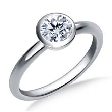 Bezel Set Diamond Engagement Solitaire Ring in 18K White Gold (2.1 mm) | B2C Jewels