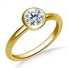 Bezel Set Diamond Engagement Solitaire Ring in 18K Yellow Gold (2.1 mm) | B2C Jewels