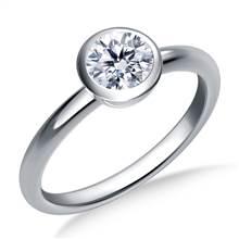 Bezel Set Diamond Engagement Solitaire Ring in Platinum (2.1 mm) | B2C Jewels