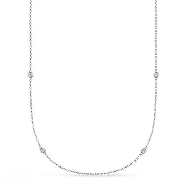 Bezel Set Diamond Long Station Necklace in Sterling Silver (1/4 cttw.)