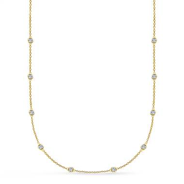 Bezel Set Diamond Station Necklace in 18K Yellow Gold (1/2 cttw.)