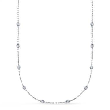 Bezel Set Diamond Station Necklace in Sterling Silver (1/2 cttw.)