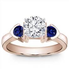 Bezel Set Engagement Setting With Two Sapphires | Adiamor