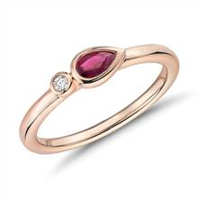Bezel-Set Pear-Shaped Ruby and Diamond Stacking Ring in 14k Rose Gold (3x5mm) | Blue Nile