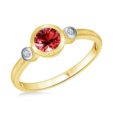 Bezel Set Round Cut Garnet Diamond Ring in 14K Yellow Gold (6mm)