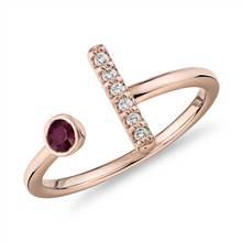 Bezel-Set Ruby and Diamond Bar Ring in 14k Rose Gold (3mm) | Blue Nile