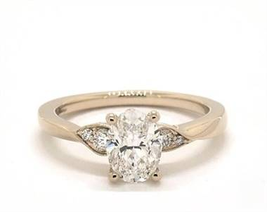 Blossoming Vine Side-Stone Engagement Ring in 18K Yellow Gold 2mm Width Band (Setting Price)