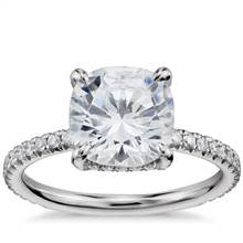 Blue Nile Studio Cushion Cut Petite French Pave Crown Diamond Engagement Ring in Platinum (1/3 ct. tw.) | Blue Nile