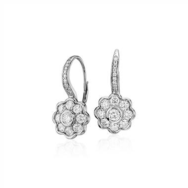 """Blue Nile Studio Diamond Floral Drop Earrings in 18k White Gold (1.39 ct. tw.)"""