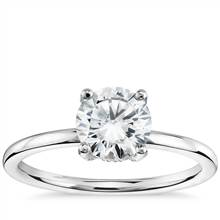 Blue Nile Studio French Pave Diamond Crown Solitaire Engagement Ring in Platinum (1/6 ct. tw.)   Blue Nile