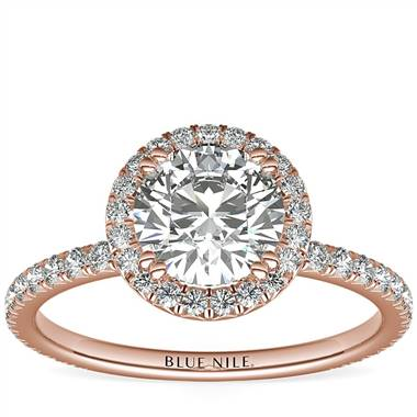 Blue Nile Studio Heiress Halo Diamond Engagement Ring in 18k Rose Gold (3/8 ct. tw.)