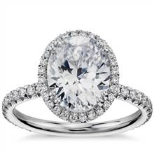 Blue Nile Studio Oval Cut Heiress Halo Diamond Engagement Ring in Platinum (1/2 ct. tw.) | Blue Nile
