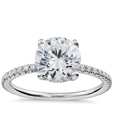 Blue Nile Studio Petite French Pave Crown Diamond Engagement Ring in Platinum (1/3 ct. tw.)