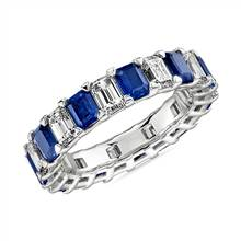 Blue Nile Studio Seamless Sapphire and Diamond Emerald-Cut Eternity Band in Platinum- G/VS2 (2 1/2 ct. tw.) | Blue Nile