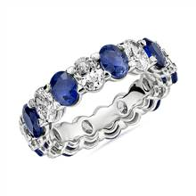 Blue Nile Studio Seamless Sapphire and Diamond Oval-Cut Eternity Band in Platinum- G/VS2 (2 1/2 ct. tw.) | Blue Nile