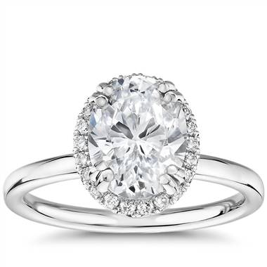 Blue Nile Studio Simple Oval-Cut Halo Diamond Engagement Ring in Platinum (1/6 ct. tw.)
