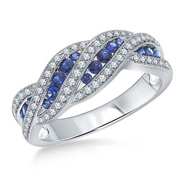 Blue Sapphire and Diamond Gemstone Swirl Ring in 14K White Gold
