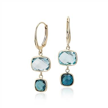 """Blue Topaz Tonal Drop Leverback Earrings in 14k Yellow Gold"""