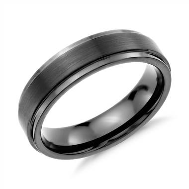 """Brushed and Polished Comfort Fit Wedding Ring in Black Tungsten Carbide (6mm) """