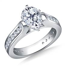 Cathedral Channel Set Diamond Engagement Ring Crafted In Platinum (3/4 cttw.)   B2C Jewels