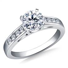 Cathedral Channel Set Diamond Engagement Ring In 18K White Gold (1/5 cttw.) | B2C Jewels