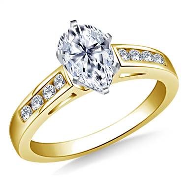 Cathedral Channel Set Diamond Engagement Ring In 18K Yellow Gold (1/5 cttw.)