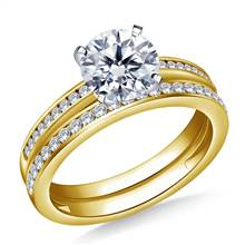 Cathedral Channel Set Diamond Ring with Matching Band in 14K Yellow Gold (3/8 cttw) | B2C Jewels