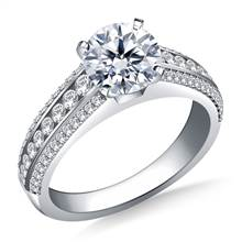 Cathedral Diamond Engagement Ring in 18K White Gold (1/2 cttw.) | B2C Jewels