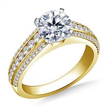 Cathedral Diamond Engagement Ring in 18K Yellow Gold (1/2 cttw.) | B2C Jewels
