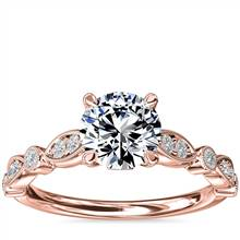 Cathedral Milgrain Marquise-Shape and Dot Diamond Engagement Ring in 14k Rose Gold (1/5 ct. tw.) | Blue Nile