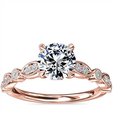Cathedral Milgrain Marquise-Shape and Dot Diamond Engagement Ring in 14k Rose Gold (1/5 ct. tw.)