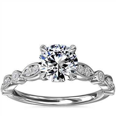 Cathedral Milgrain Marquise-Shape and Dot Diamond Engagement Ring in 14k White Gold (1/5 ct. tw.)