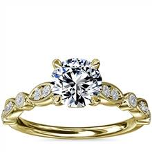 Cathedral Milgrain Marquise-Shape and Dot Diamond Engagement Ring in 14k Yellow Gold (1/5 ct. tw.) | Blue Nile
