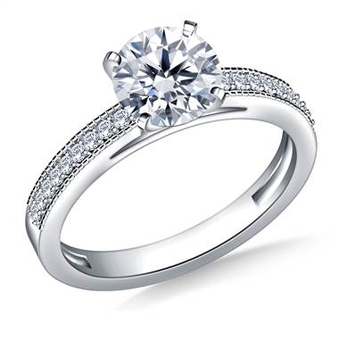 Cathedral Milgrained Round Diamond Engagement Ring in 14K White Gold (1/5 cttw.)