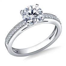 Cathedral Milgrained Round Diamond Engagement Ring in 18K White Gold (1/5 cttw.) | B2C Jewels