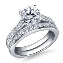 Cathedral Pave Set Diamond Ring with Matching Band in Platinum (3/8 cttw.) | B2C Jewels