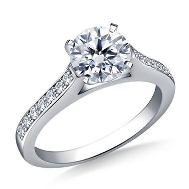 Cathedral Pave Set Round Diamond Engagement Ring in 14K White Gold (1/5 cttw.)