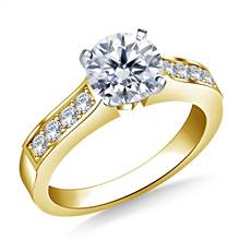 Cathedral Pave Set Round Diamond Engagement Ring in 14K Yellow Gold (1/4 cttw.) | B2C Jewels