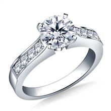 Cathedral Pave Set Round Diamond Engagement Ring in 18K White Gold (1/4 cttw.)   B2C Jewels