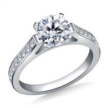 Cathedral Pave Set Round Diamond Engagement Ring in 18K White Gold (1/4 cttw.) | B2C Jewels