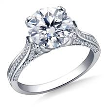 Cathedral Round Diamond Engagement Ring In 14K White Gold | B2C Jewels