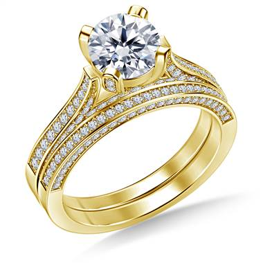 Cathedral Round Diamond Ring with Matching Band in 18K Yellow Gold